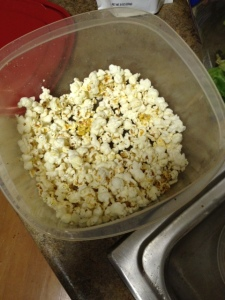 I may have had a few bites of my popcorn while cooking up dinner ;)
