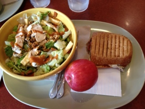 Thai chicken salad + tomato motzerella sandwich from Panera