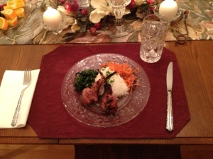 lamb, spinach, carrots, and rice