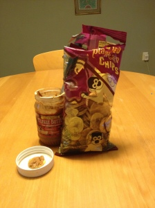 Plantain chips and peanut butter...oh yeah!