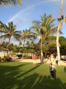 a rainbow at the luau!