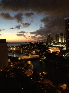 The city view of Honolulu from the porch
