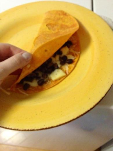 I even made myself a cheese & black bean breakfast quesedilla