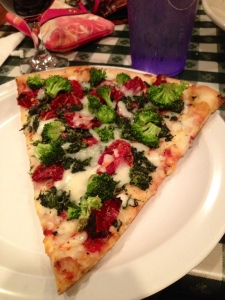 Broccoli, spinach, sundried tomato cheese pizza :D