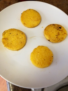 Start with cooked polenta (I cooked mine in olive oil over the stove)