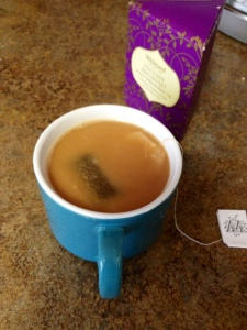 Black tea with almond milk + honey