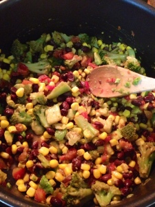 Quinoa and veggies + nutritional yeast, salt, pepper