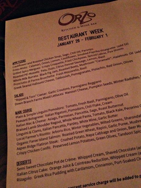 orzo restaurant week